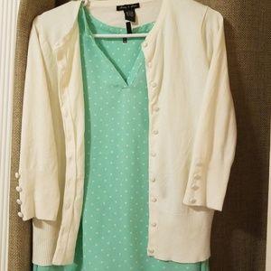 Nice Off White 3/4 Sleeve Cardigan